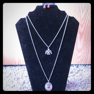 Red and Silver Eagle Tribal Necklace and Earrings